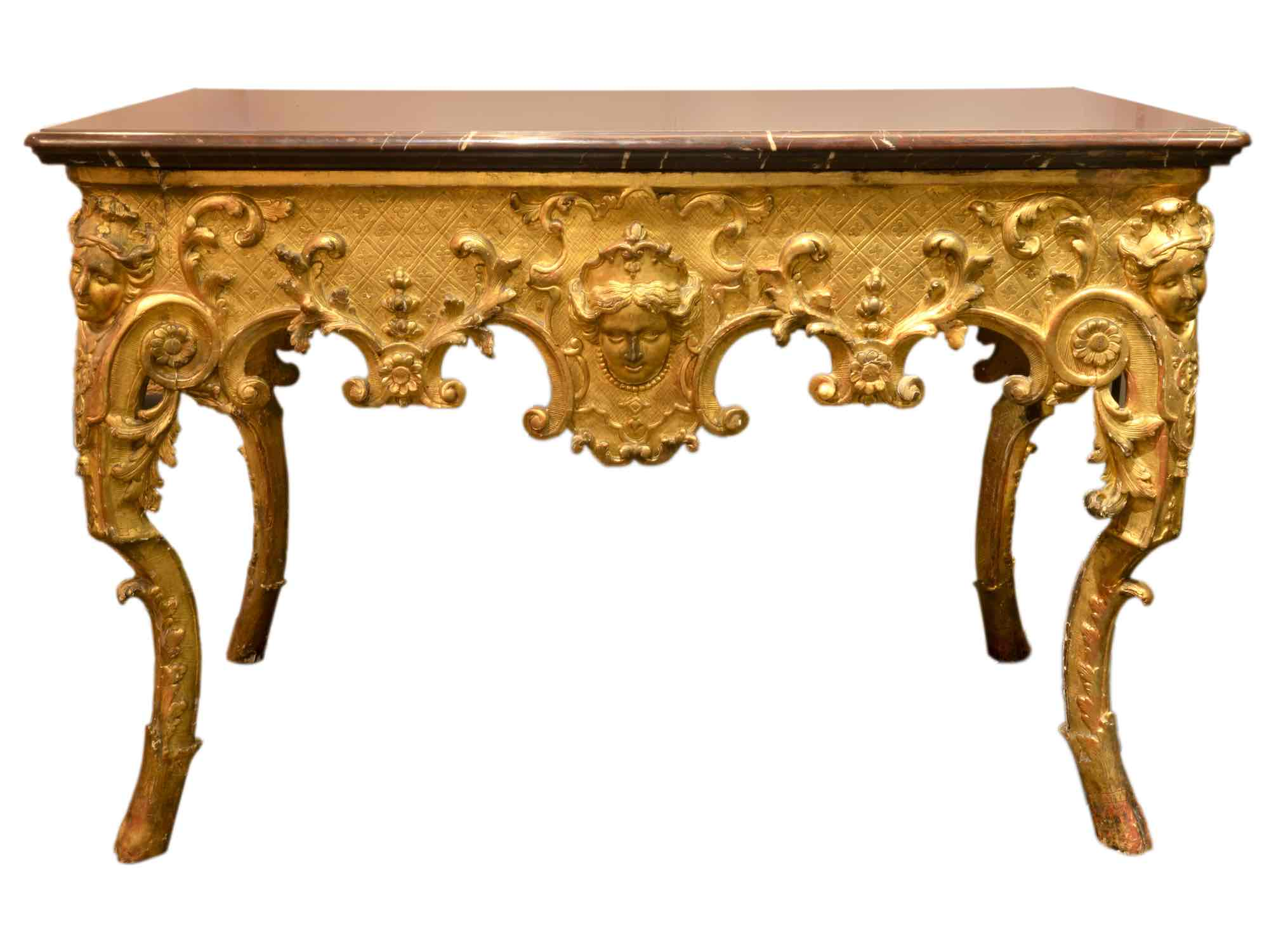 console r gence louis xv en bois dor et marbre rouge paul bert serpette. Black Bedroom Furniture Sets. Home Design Ideas
