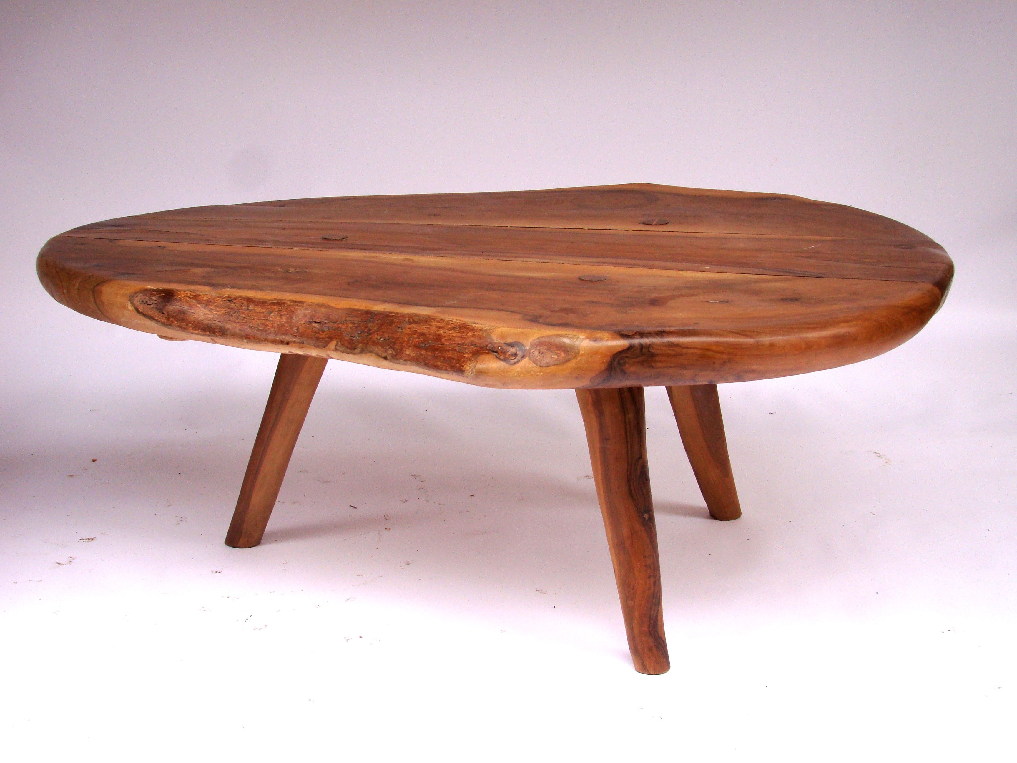 table basse en bois d 39 olivier circa 1950 paul bert serpette