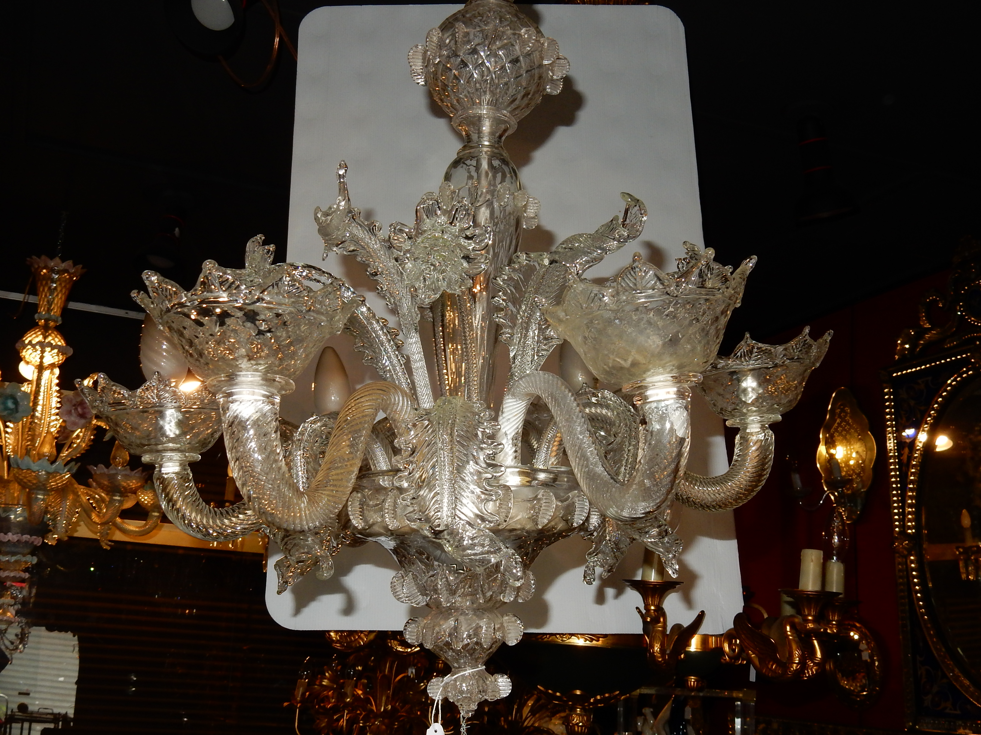 1900 1920 Crystal Chandelier Murano 6 Arms of Light