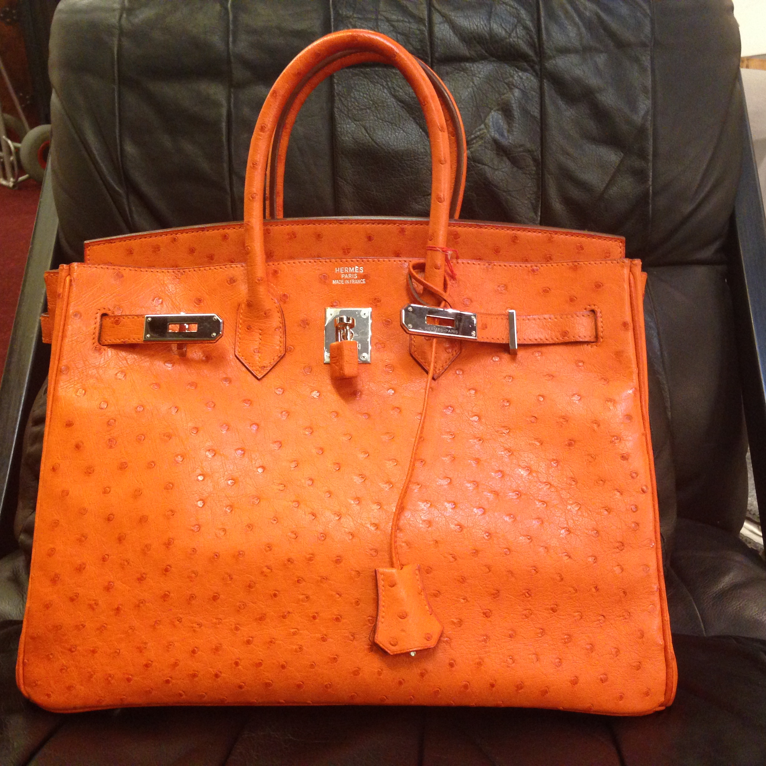 f20be7e531d 2006 orange ostrich Hermes Birkin bag