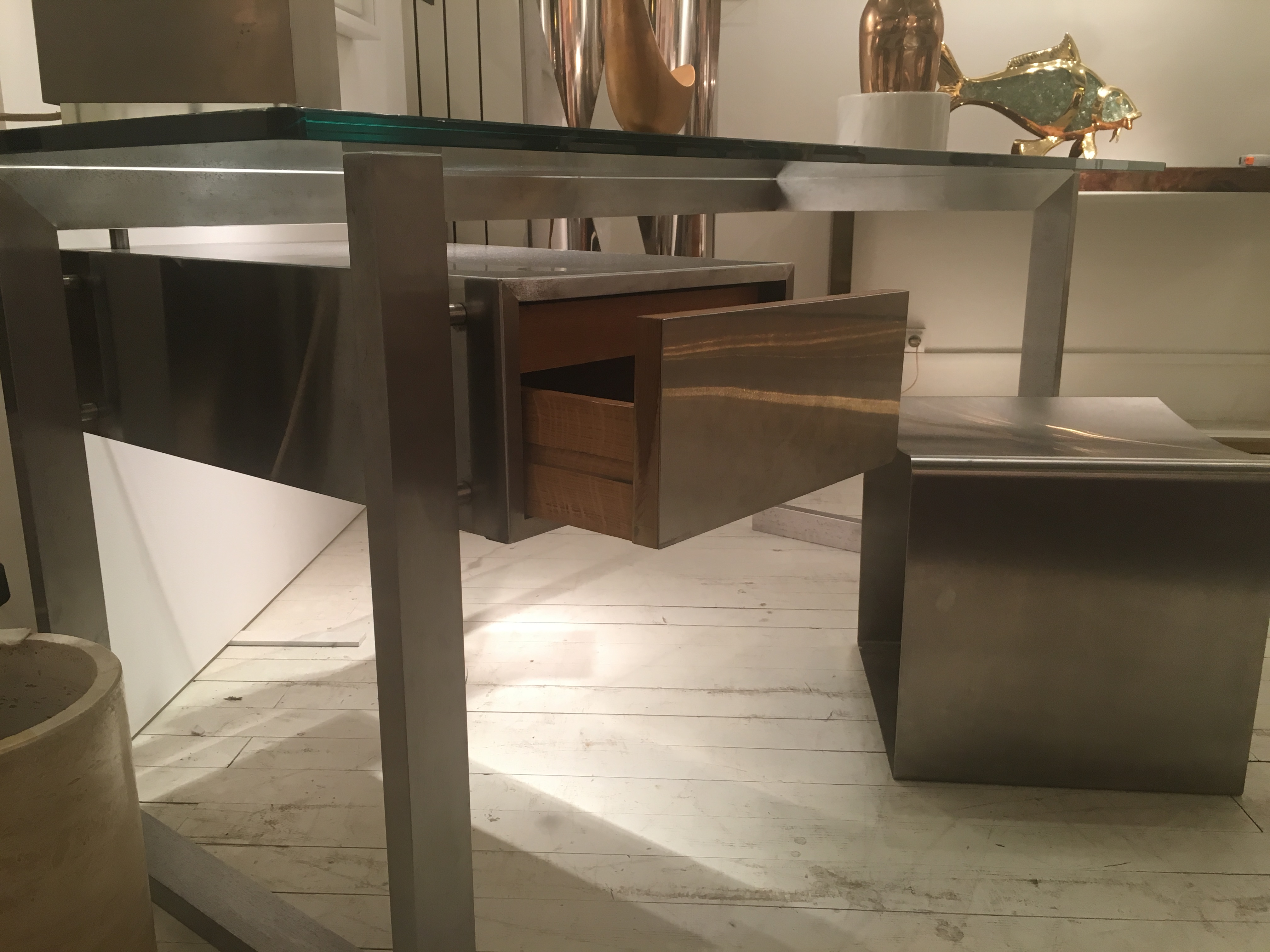 Brushed stainless steel president desk glass top patrice maffei