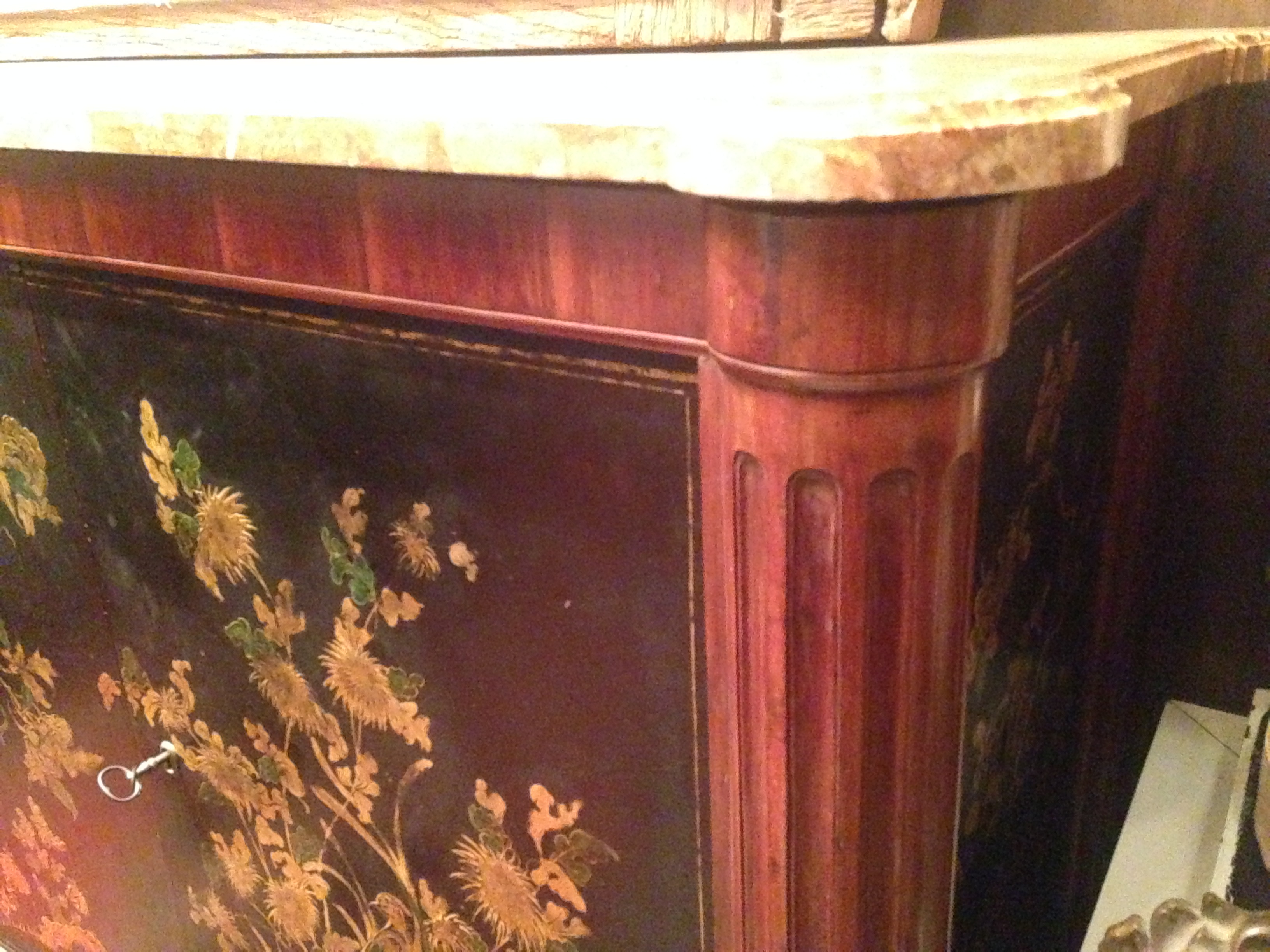 Imposing Chest High Sideboard In Mahogany And Lacquer Neo Classical