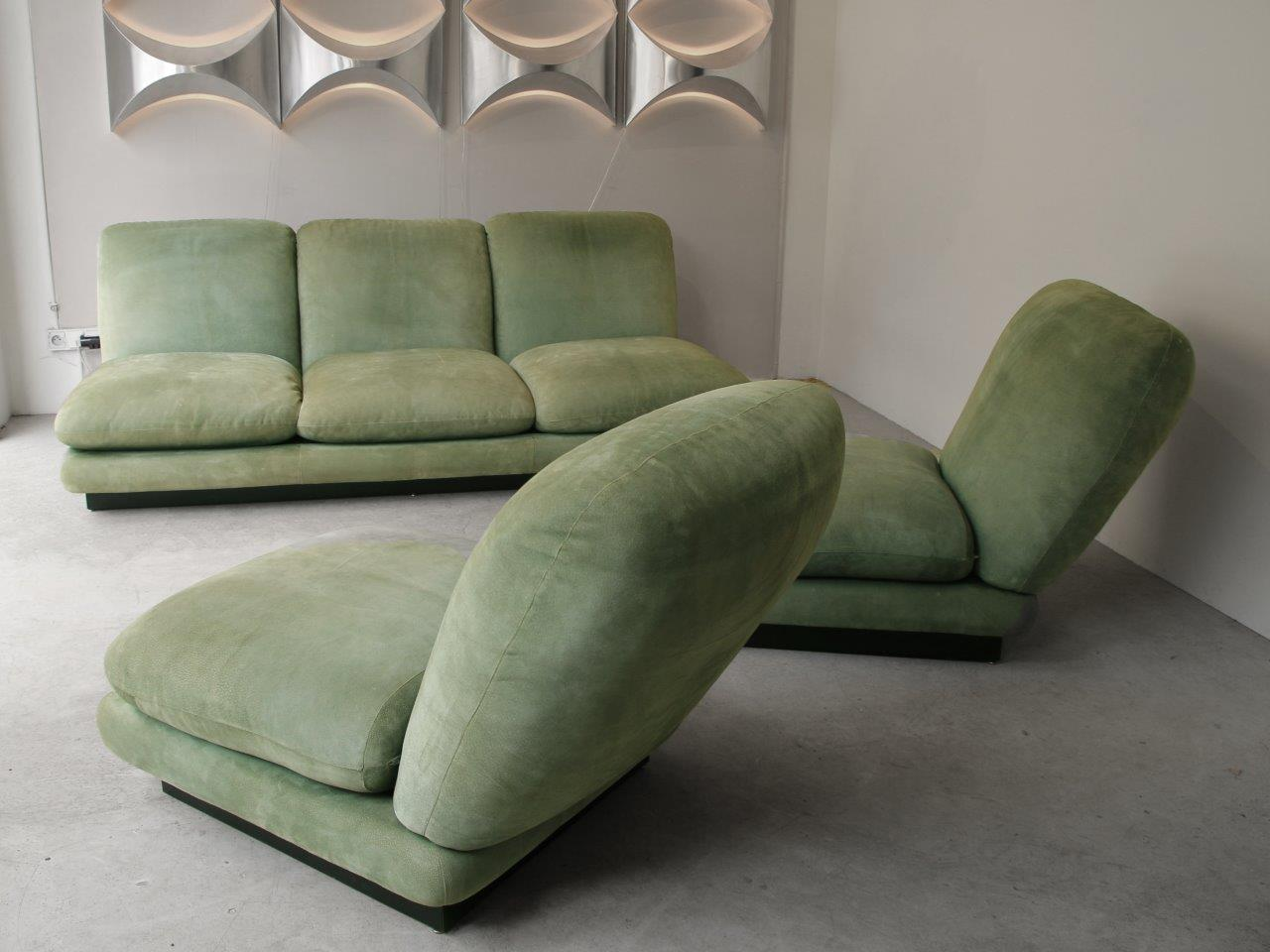 willy rizzo canap et chauffeuses fauteuils en p cari vert jade ann es 70 paul bert serpette. Black Bedroom Furniture Sets. Home Design Ideas
