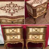 paire chevets italien venitien bois doré peint italian furniture golden wood pair