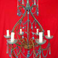 lustre chandelier opaline bleu blue light
