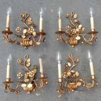 1970 '2 Pairs Of Walls Gold Plated Flowers and Foliage with 2 Ampoules
