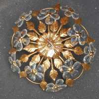 1970 'Gilded Iron and Crystal Style Ceiling Lamp