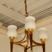 1950 'Chandelier Bronze and Brass With Arrow Arbus Style or House Jansen 4 Lamps