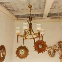1950 'Chandelier Bronze and Brass With Arrow Arbus Style or House Jansen 6 Lamps