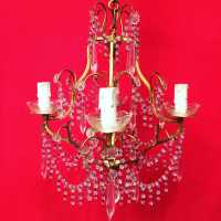 chandelier chandelier crystal crystals pink