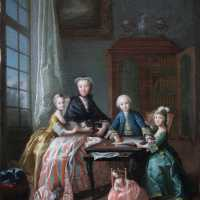 Oil on canvas, Portrait of mother and three children