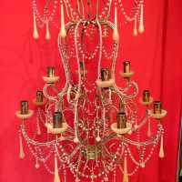 bronze chandelier crystal lamp light opaline candlestick pink pink