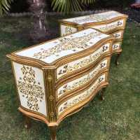 pair Italian dresser golden wood