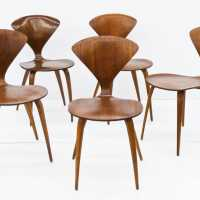 Set of Norman Cherner Walnut side Chair for Plycraft, 1950