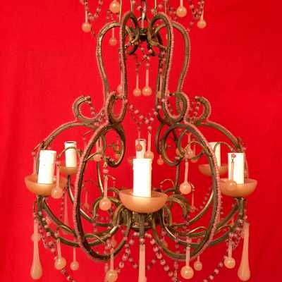lustre chandelier opaline rose pink light