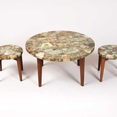 Coffee table, 3 pieces of sofa, onyx, 1970