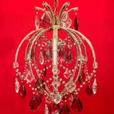 chandelier red ball crystal candlestick