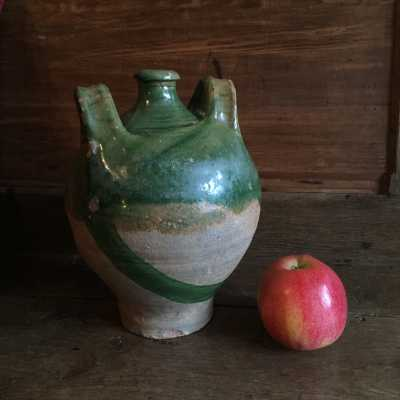 Norman carboy, 2 handles, partial green glazed earthenware