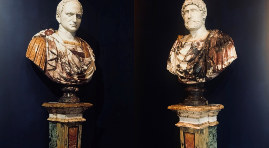 Paire of busts representing the emperors Titus and Hadrien, white marble, Breccia Medicea marble and Spanish brocatelle, Rome, end of 19th century | Rare marble columns, early 18th century Stejer booths 1 & 2 alley 1 Serpette
