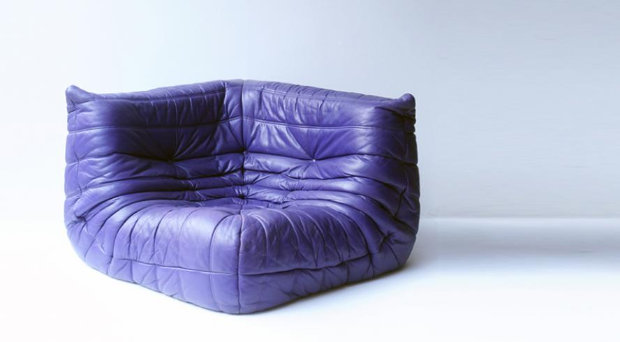 Corner sofa TOGO purple leather