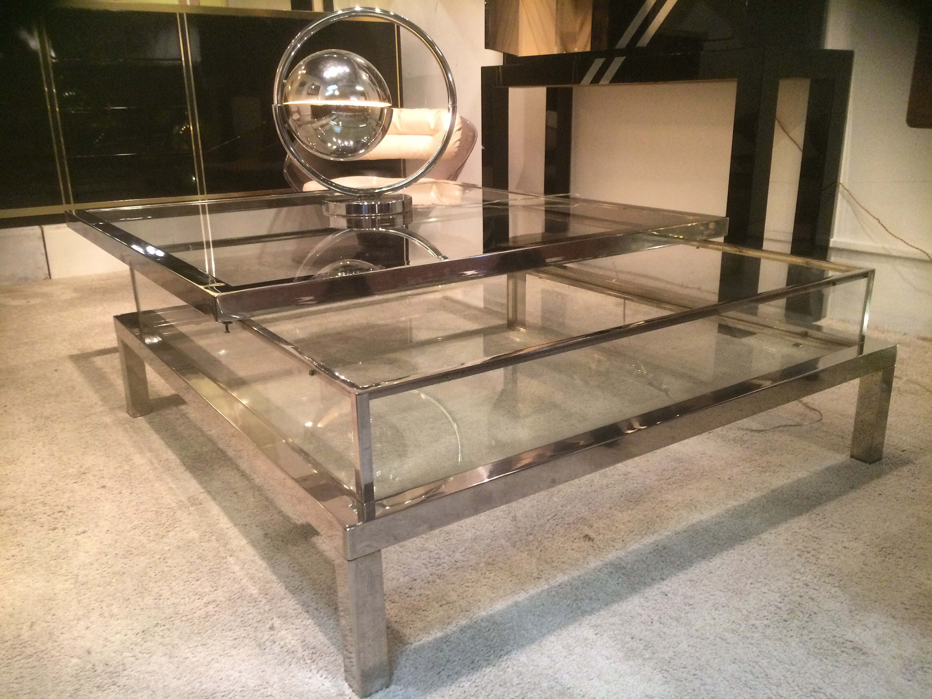 Chromed Sliding Top Table Paul Bert Serpette
