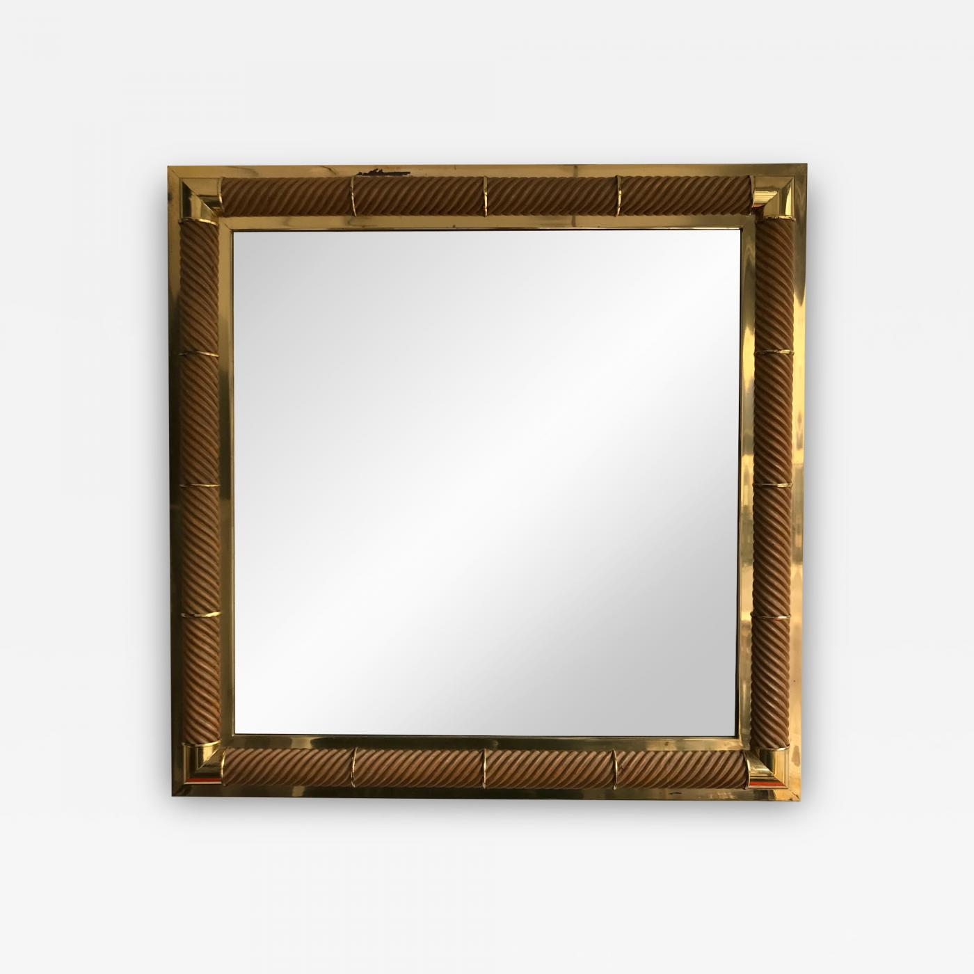 Mirror brass and wood Galerie Maison & Jardin. France, 1970s ...