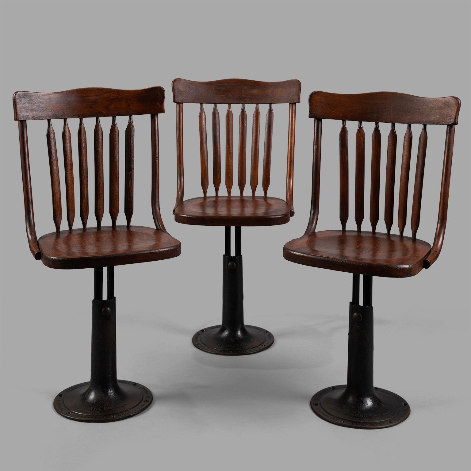 Tremendous Three Cast Iron And Wood Ajustable Height Chairs Circa 1895 Cjindustries Chair Design For Home Cjindustriesco