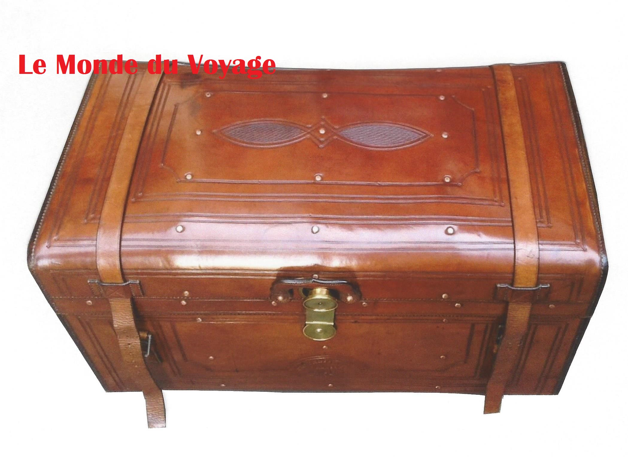 Malle Ancienne En Cuir travel trunk, leather, crouch & fitzgerald, new york