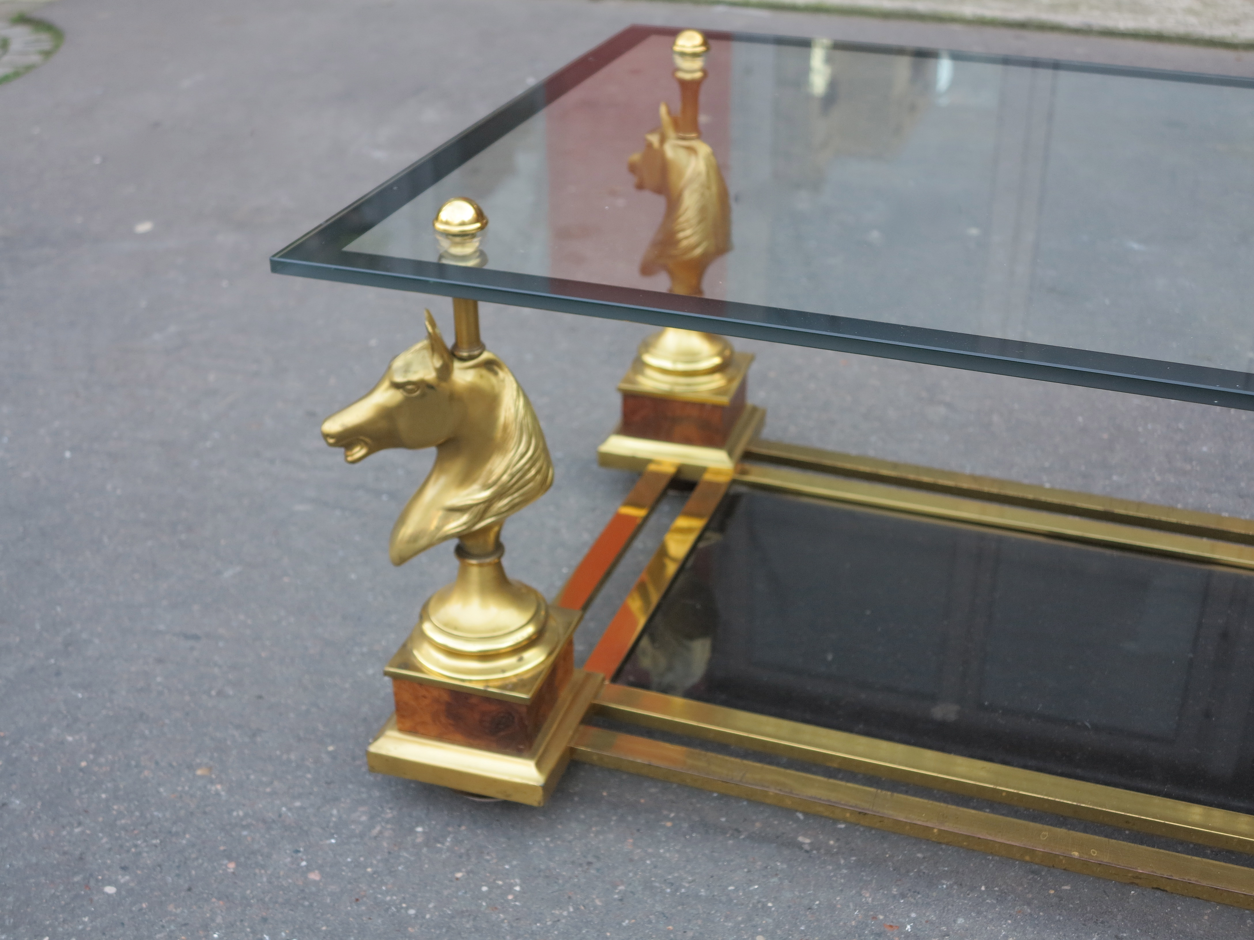 1950 70 Coffee Table Horses Heads In The Style Of Maison Charles