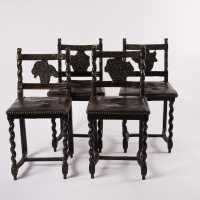 Suite of 4 chairs, East of France, nineteenth