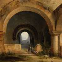 """Romanesque ruins"", oil on canvas, Charles-Caïus Renoux (1795-1846), c.1820-1830"