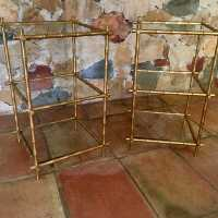 coffee table brass bamboo circa 1970