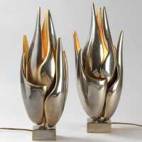 "Pair of ""Flame"" lamps by Michel Armand"