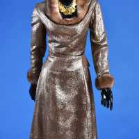 Dior dress in silk blade, mink collar and cuffs