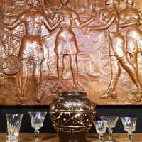 """The cotton spinners"" repoussé copper bas-relief"