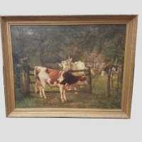 Oil on canvas Cows 19th century