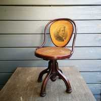 Musician's chair, Maison Thonet, folder decorated with a lithograph representing Mozart