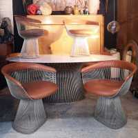Warren Platner table and 6 chairs, Knoll Edition