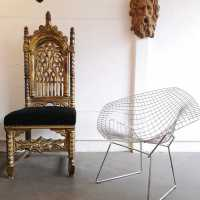 Important Neo-Gothic chair and Diamond Chair by Harry Bertoia
