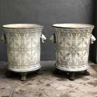 Two enameled cast iron garden vases