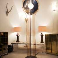 3-sided floor lamp attributed to Pierre Cardin and Maison Charles lamps