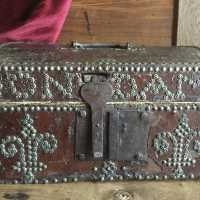 Box, French Louis XIII chest, really rare with a dedication inscription and its original decor
