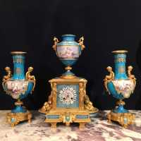 Clock set, Sèvres blue porcelain and painting on email, Napoleon III period