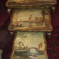 3 Nesting Tables Golden Wood with Italian Painting XXth