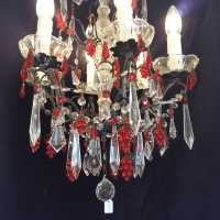 Twentieth chandelier with White pendants and Red Grape fruits