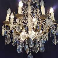 Twentieth chandelier with white and blue pendants at 8 lights