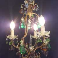 Twentieth bronze chandelier with fruit pendants