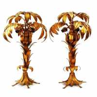 pair of palm tree lamps