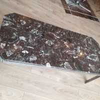 RED MARBLE AND CHROME COFFEE TABLE