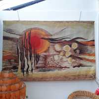tapestry brown and orange colors, 1970